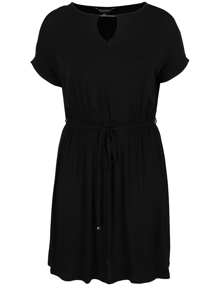 Černé šaty s detaily ve zlaté barvě Dorothy Perkins Curve