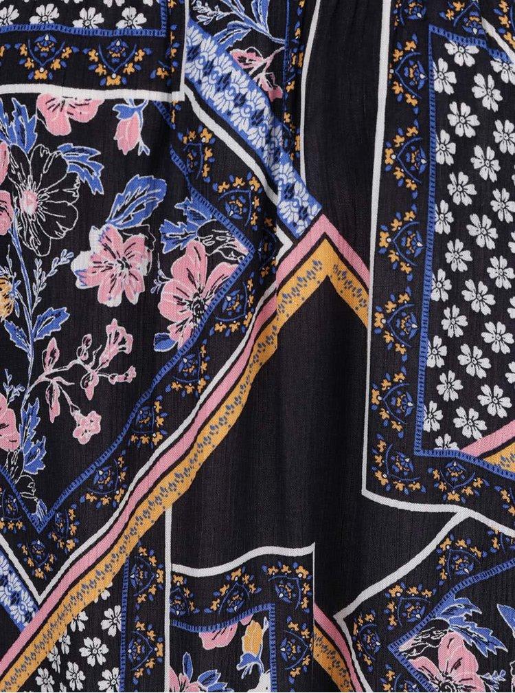 Tmavě modrá vzorovaná halenka s odhalenými rameny Dorothy Perkins