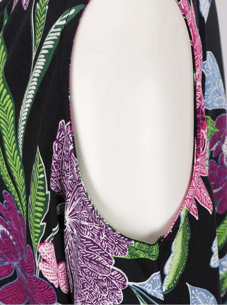 Černé květované šaty s průstřihy na ramenou Dorothy Perkins