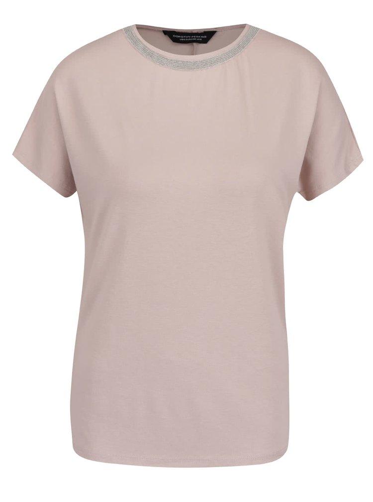 Krémové tričko s aplikací okolo krku Dorothy Perkins