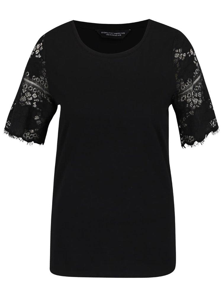 Černé tričko s krátkými krajkovými rukávy Dorothy Perkins