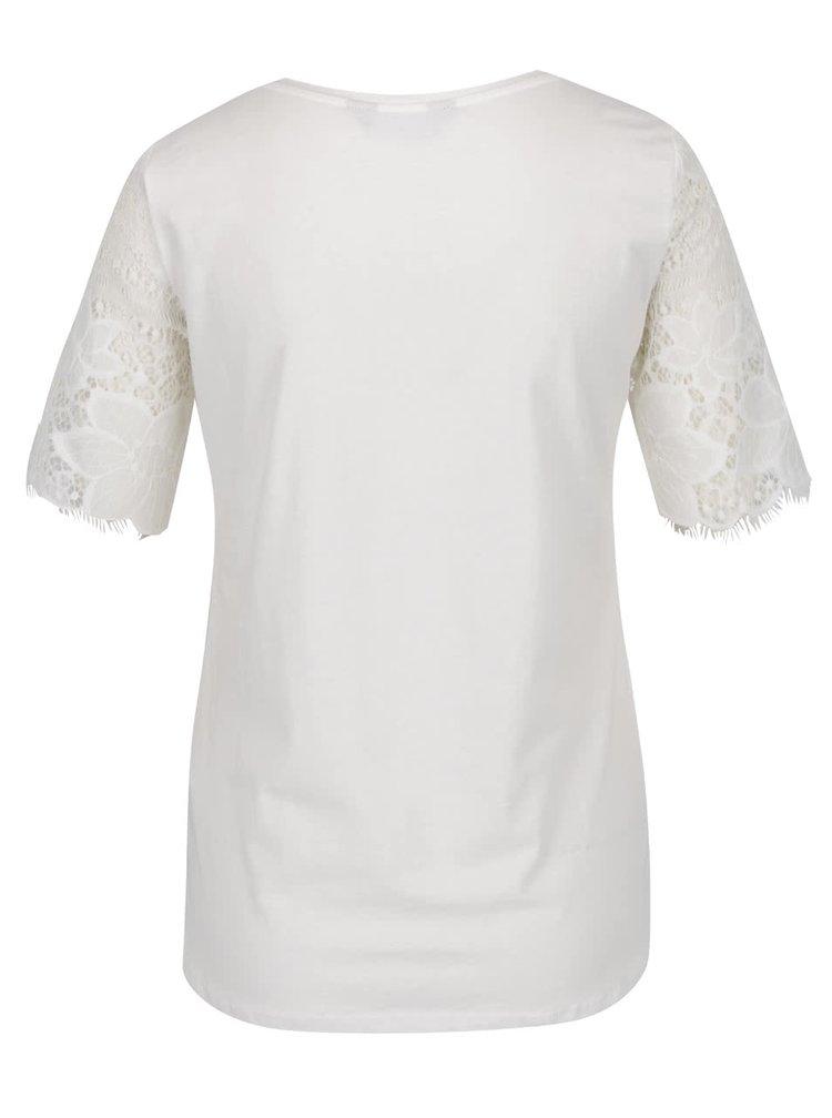 Krémové tričko s krátkými krajkovými rukávy Dorothy Perkins