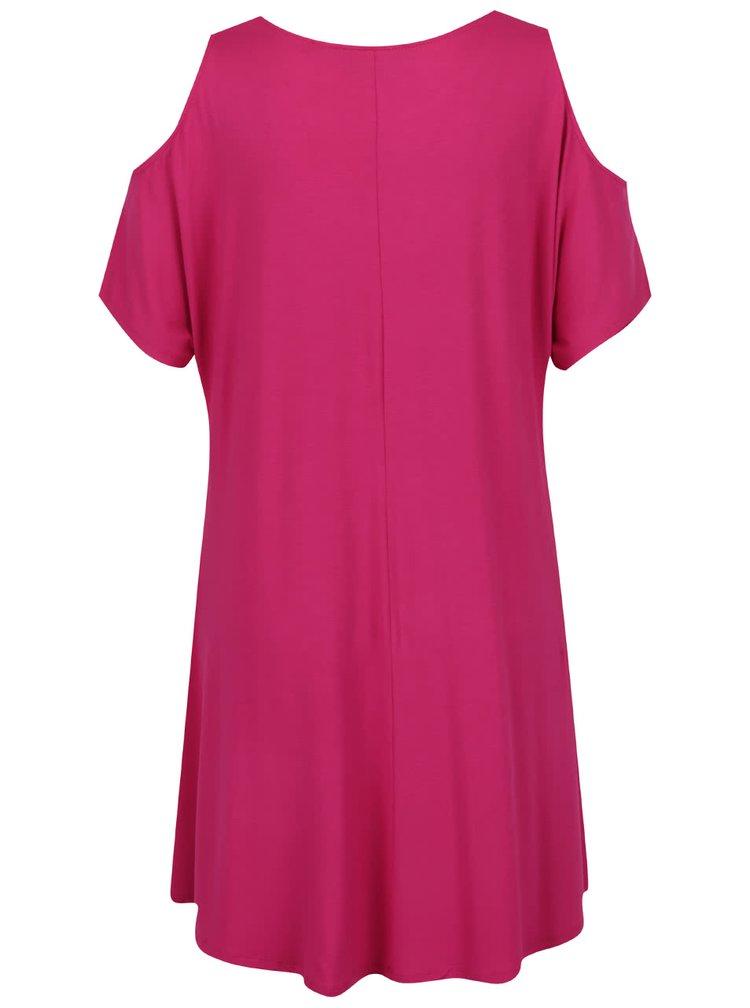 Růžové volné šaty s průstřihy na ramenou Dorothy Perkins