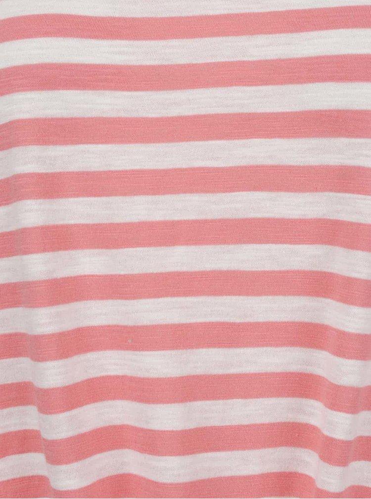 Bílo-červené pruhované žíhané tričko s uzlem ONLY Kasia
