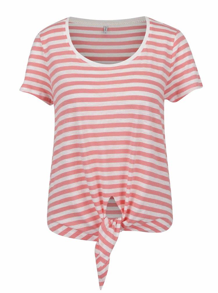 Tricou alb-roșu ONLY Kasia cu dungi