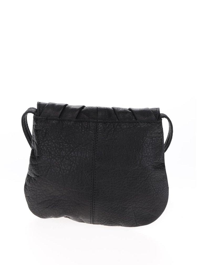 Černá crossbody kožená kabelka Pieces Lilac