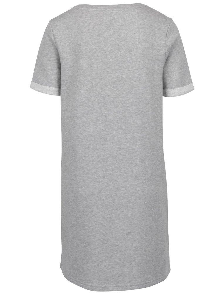 Šedé žíhané mikinové šaty s potiskem ONLY Appel