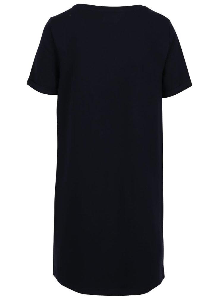 Tmavě modré žíhané mikinové šaty s potiskem ONLY Appel