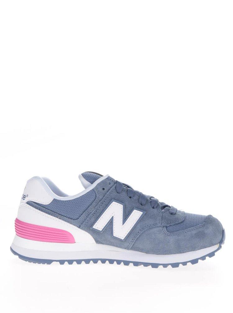 Bílo-modré dámské semišové tenisky New Balance