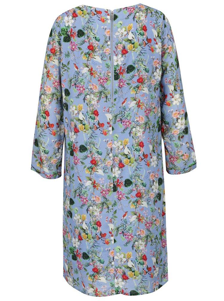 Rochie albastră Rich & Royal cu model floral și mâneci trei sferturi