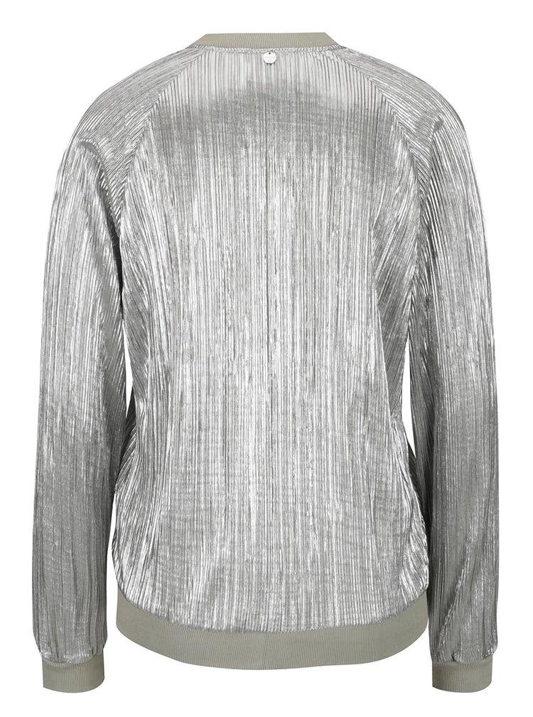 Jacheta argintie bomber Rich & Royal din material plisat