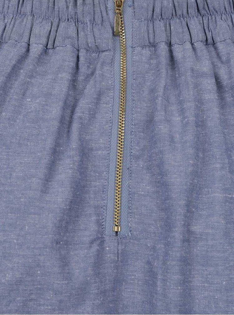 Modrá lněná žíhaná sukně VERO MODA Naja