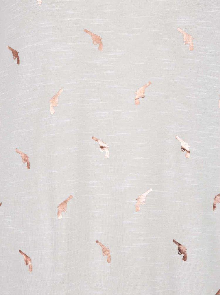 Krémové vzorované tričko ONLY Janie
