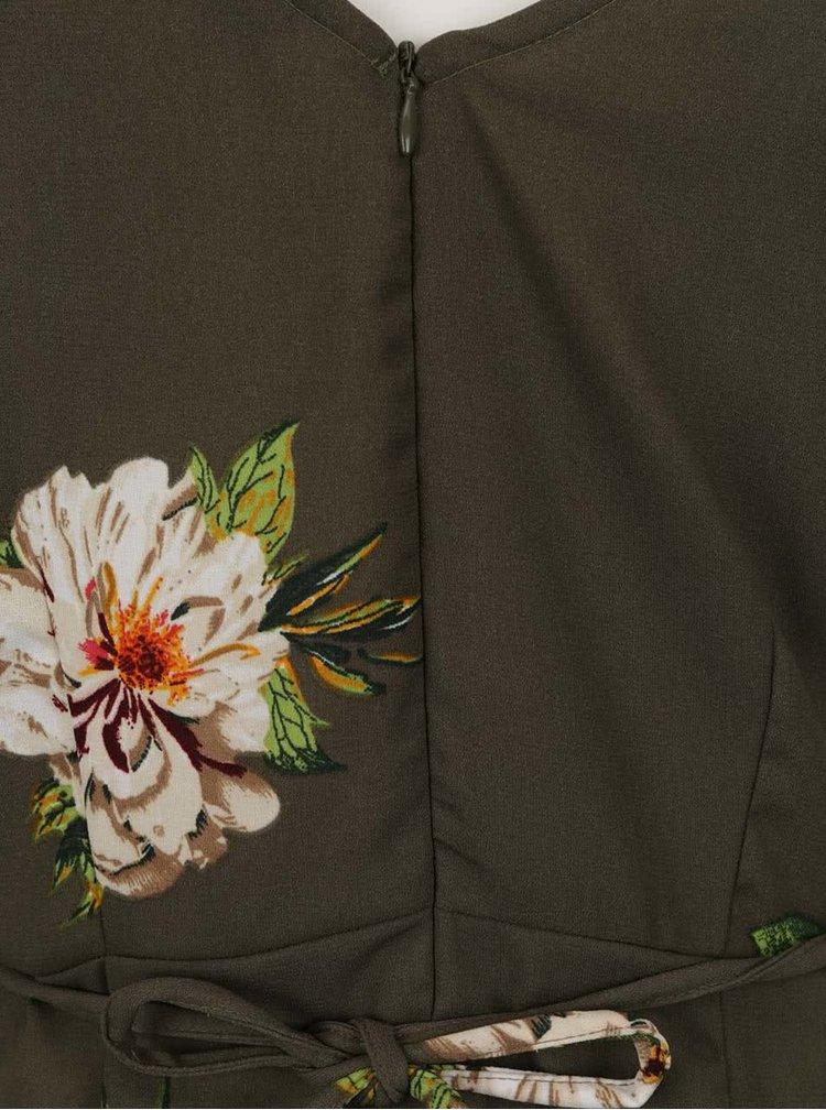 Khaki květované šaty s odhalenými rameny ONLY Julie