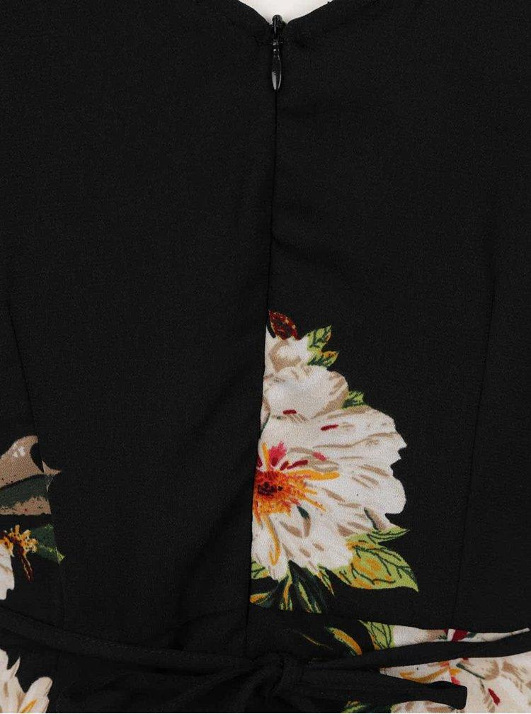 Černé květované šaty s odhalenými rameny ONLY Julie