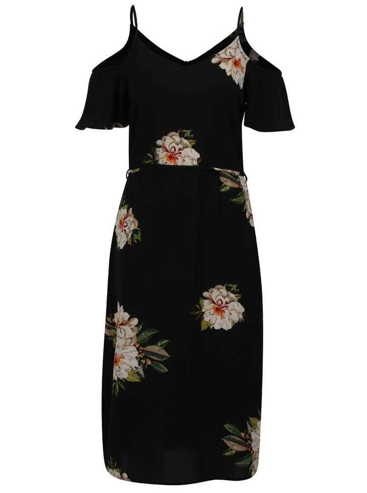 Rochie neagră ONLY Julie cu imprimeu floral