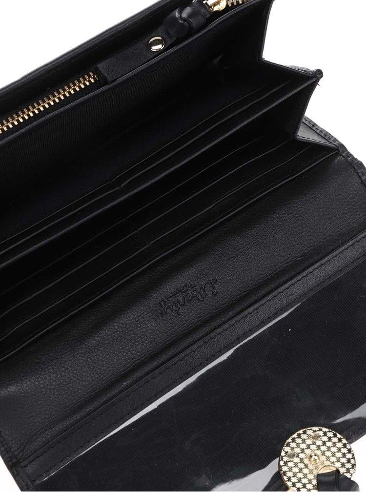 Černá kožená peněženka detaily Liberty by Gionni Georgia