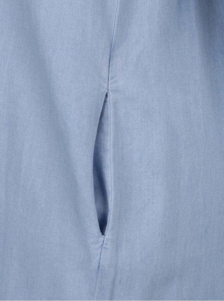 Světle modré šaty s volánem a odhalenými rameny Haily´s Karina