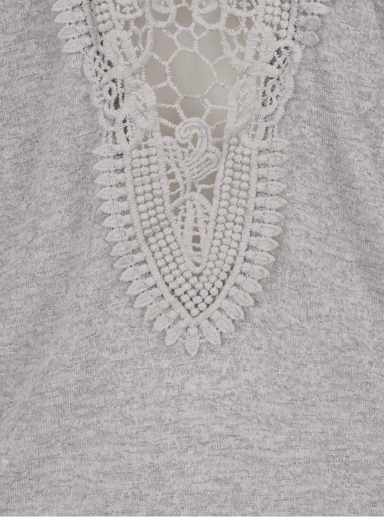 Světle šedý top bez rukávů s krajkou na zádech Haily´s Cami Farah