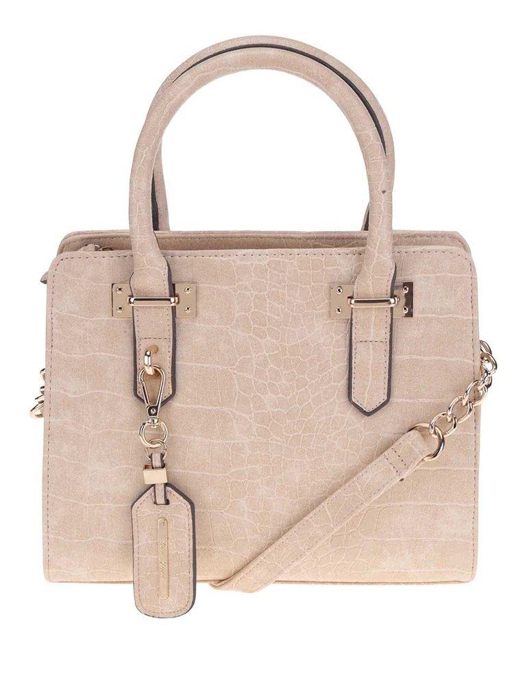Béžová vzrorovaná kabelka s detaily ve zlaté barvě Love Juno
