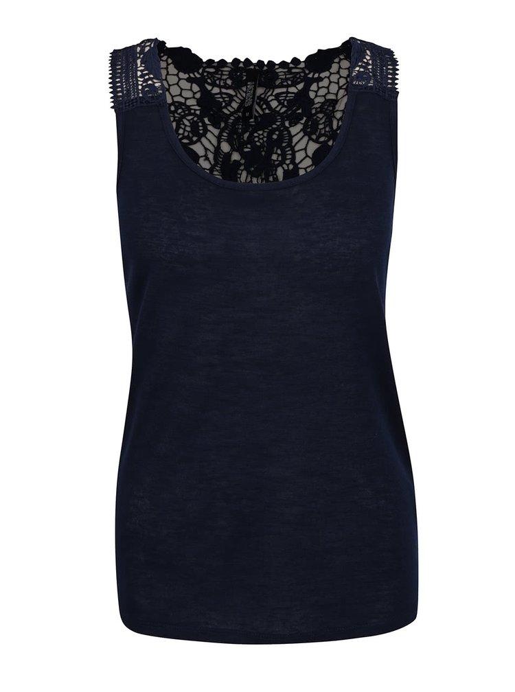 Tmavě modrý top bez rukávů s krajkou na zádech Haily´s Cami Farah