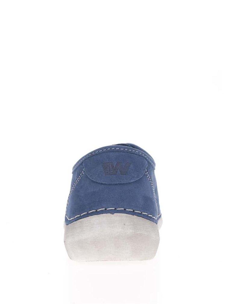 Modré dámské kožené tenisky Weinbrenner