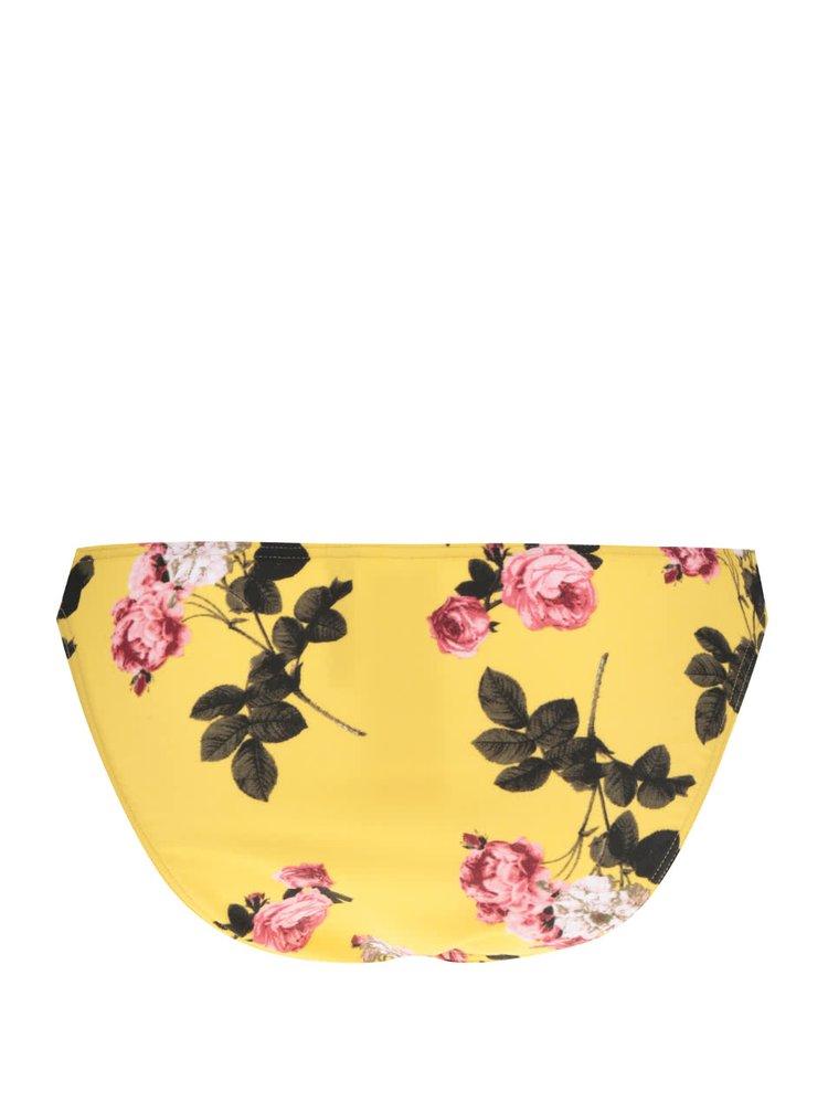 Žlutý květovaný spodní díl plavek VERO MODA Julia