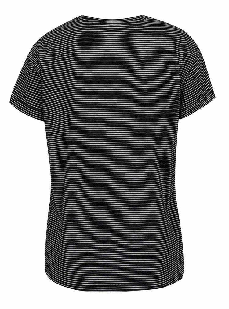 Tricou alb & negru Haily´s Stella cu model în dungi