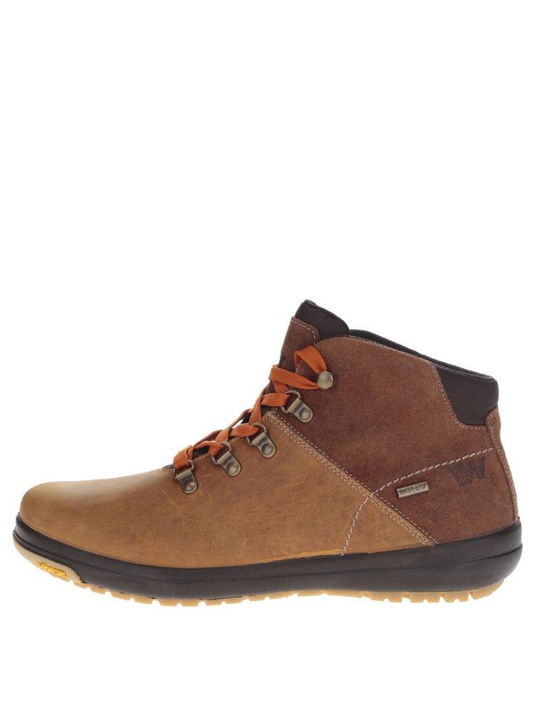 Hnědé pánské kožené kotníkové boty Weinbrenner
