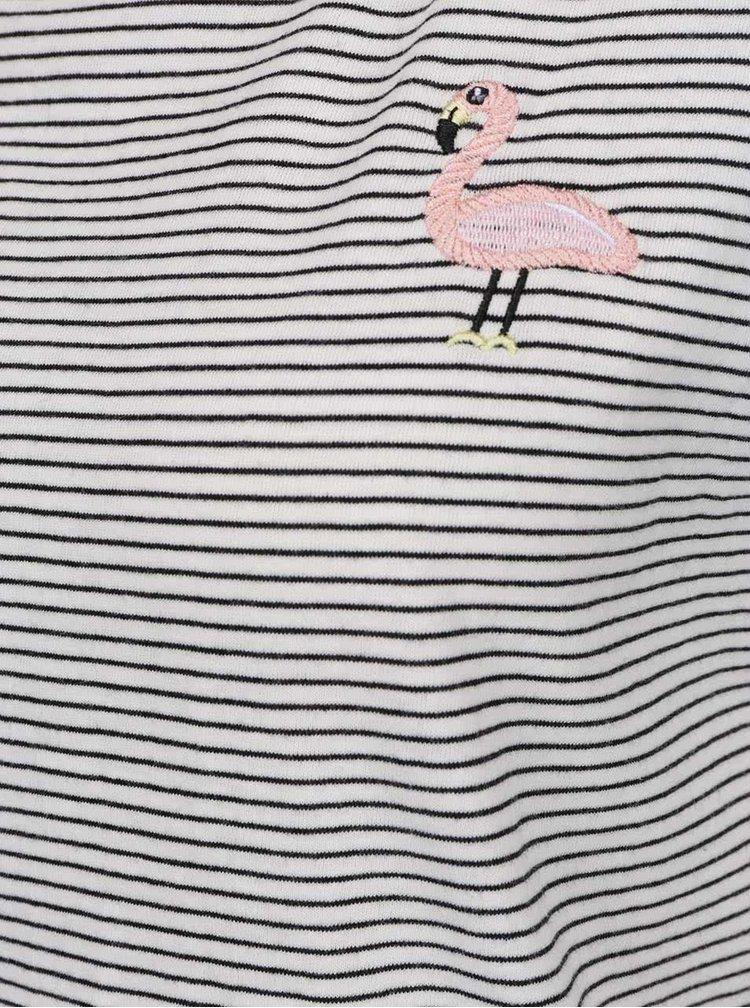 Tricou crem & negru Haily´s Stella cu model în dungi