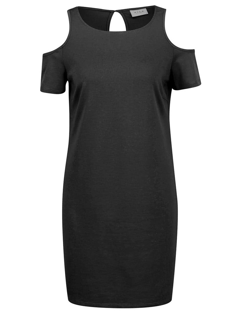 Černé volné šaty s průstřihy na ramenou VILA Coldshoulder