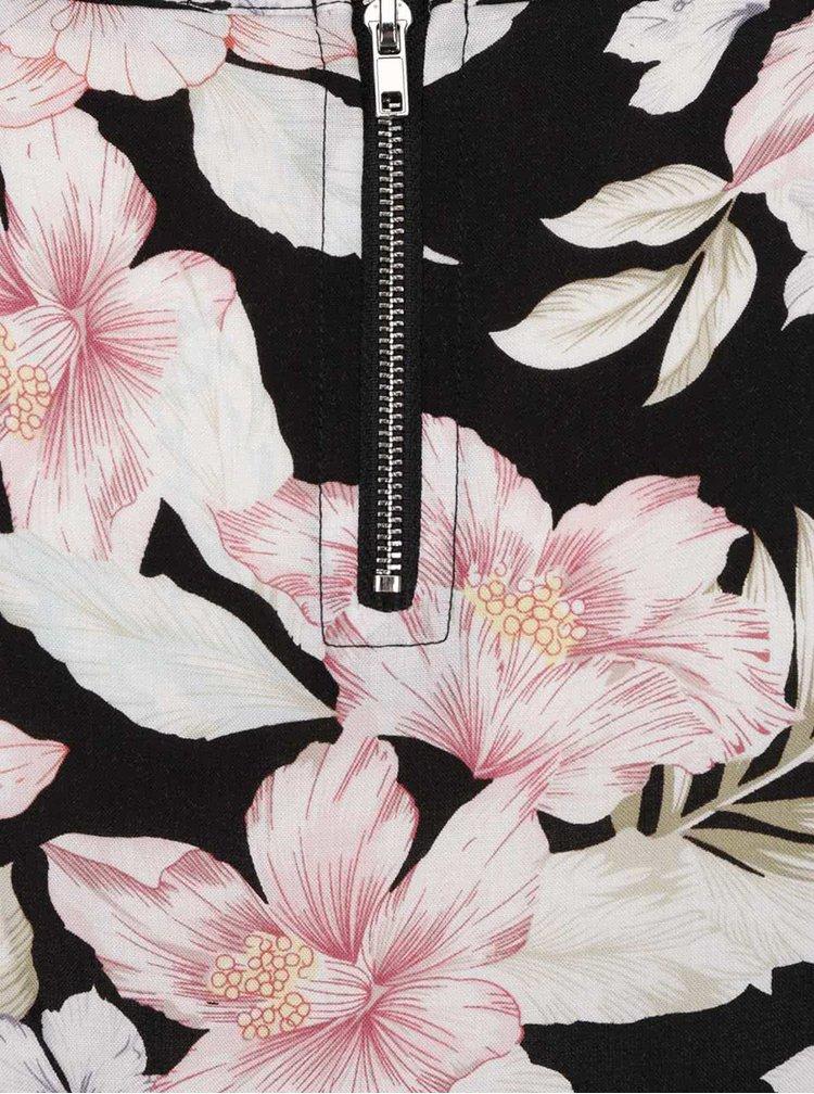 Černý květovaný volný top s krátkým rukávem Haily´s Liane