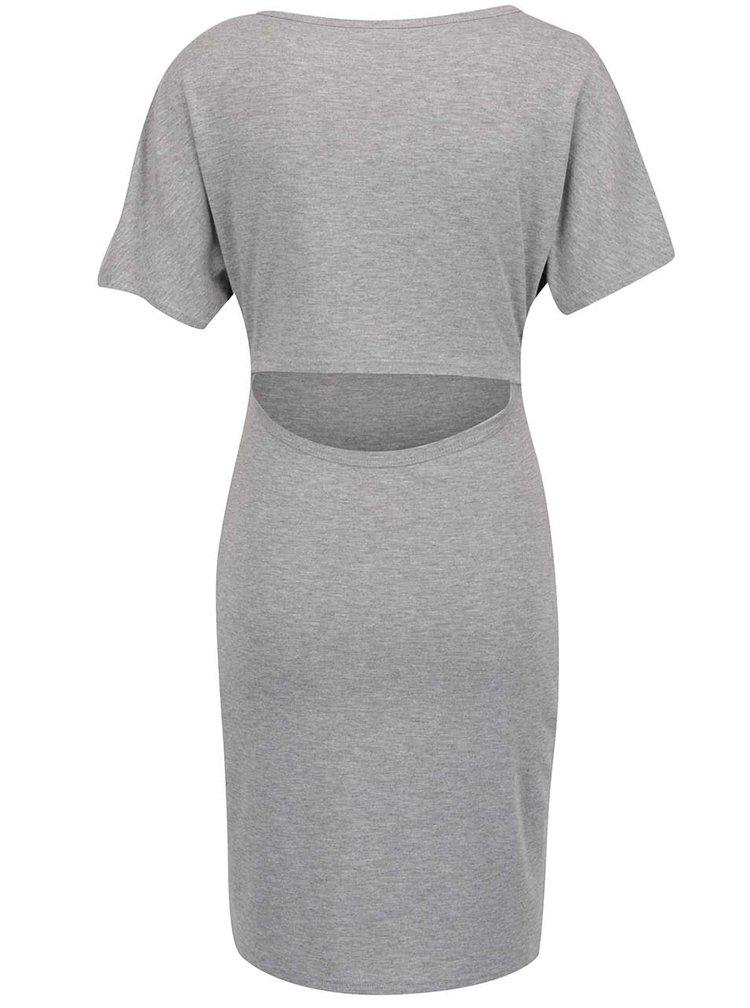 Šedé šaty s průstřihem na zádech VILA Femina
