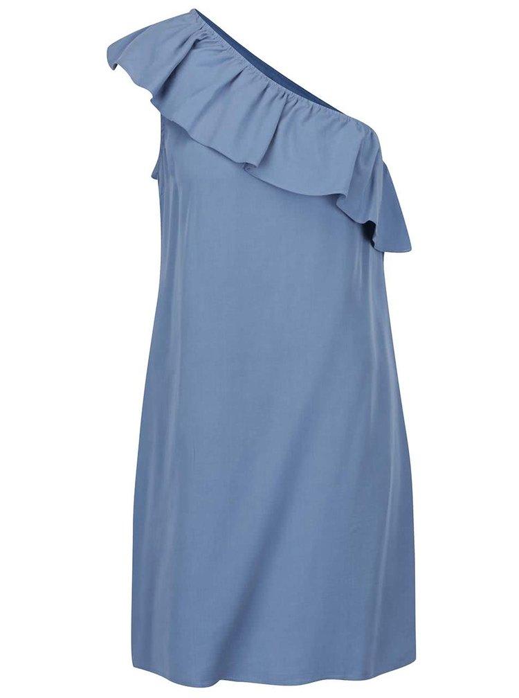 Modré asymetrické šaty s volánkem VILA Vita