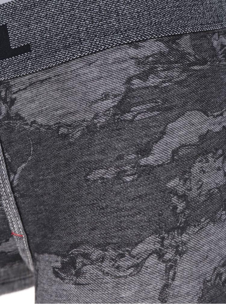 Tmavě šedé vzorované boxerky Diesel