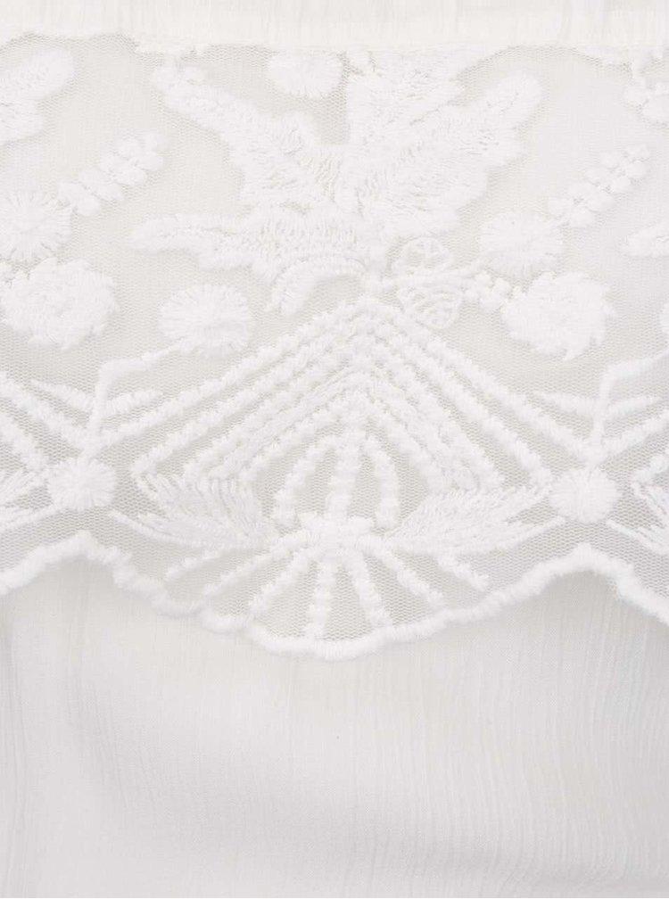 Krémové šaty s odhalenými rameny a krajkovými detaily VILA Sui