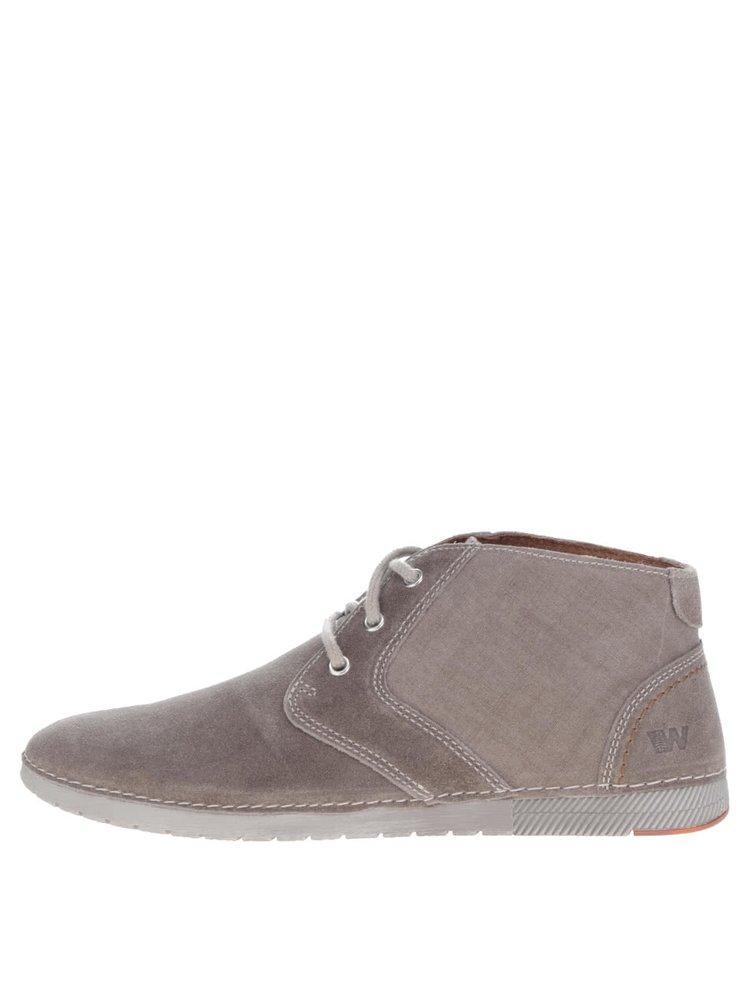 Šedé pánské semišové kotníkové boty Weinbrenner