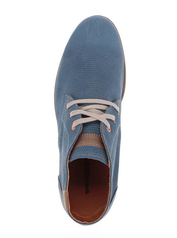 Modré pánské kotníkové kožené polobotky Weinbrenner