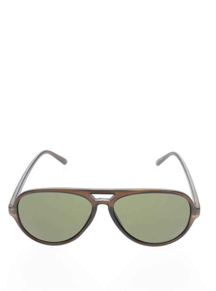 Hnédé sluneční brýle se zelenými skly Selected Homme Carl