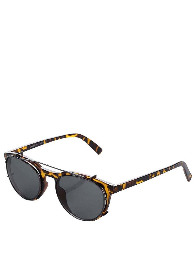 Hnědé vzorované sluneční brýle 2v1 Selected Homme Carl