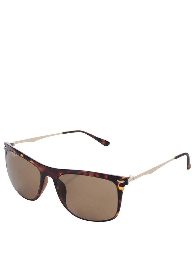 Hnědé vzorované sluneční brýle Selected Homme Carl