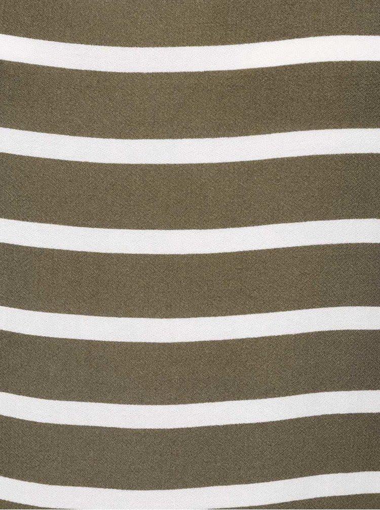 Khaki volné pruhované šaty bez rukávů VILA Becca