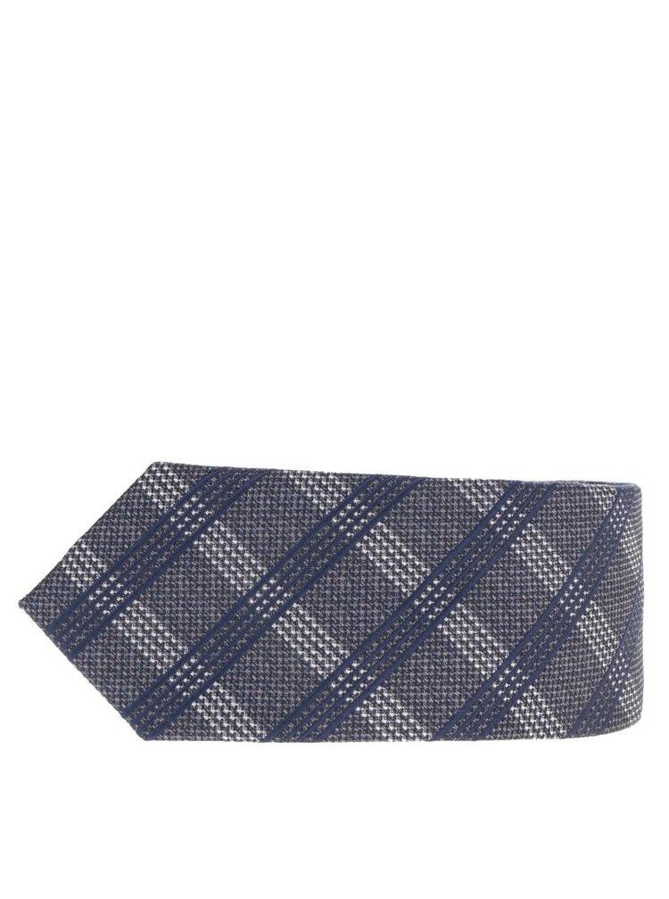Cravata gri inchis Selected Homme Neal cu model in carouri