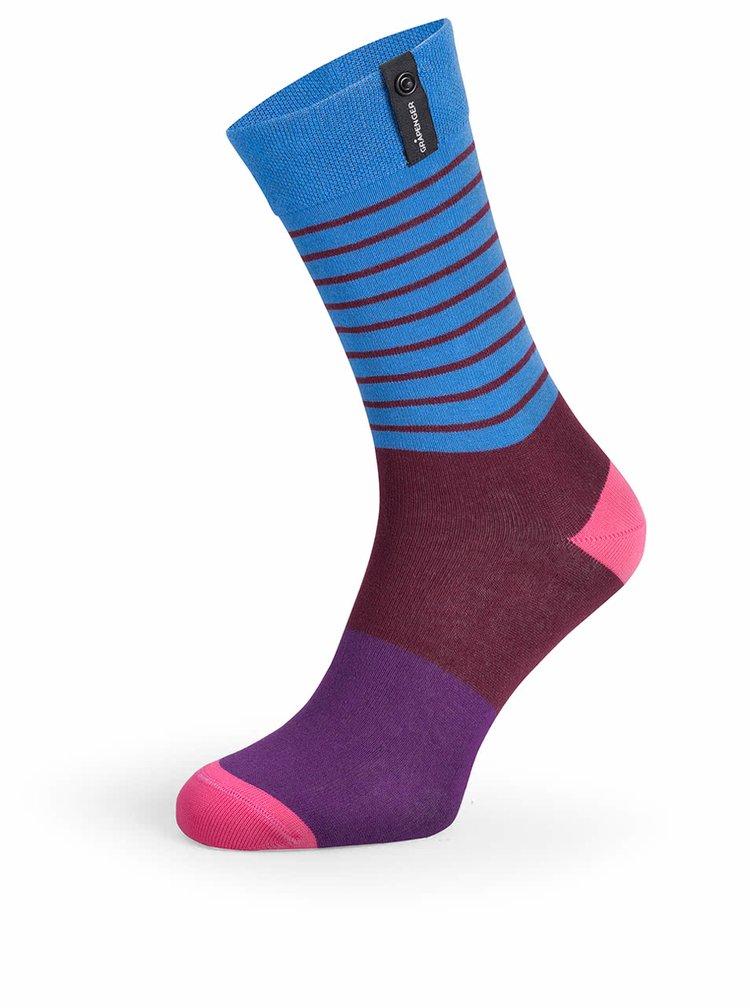 Vínovo-modré pruhované unisex ponožky V páru