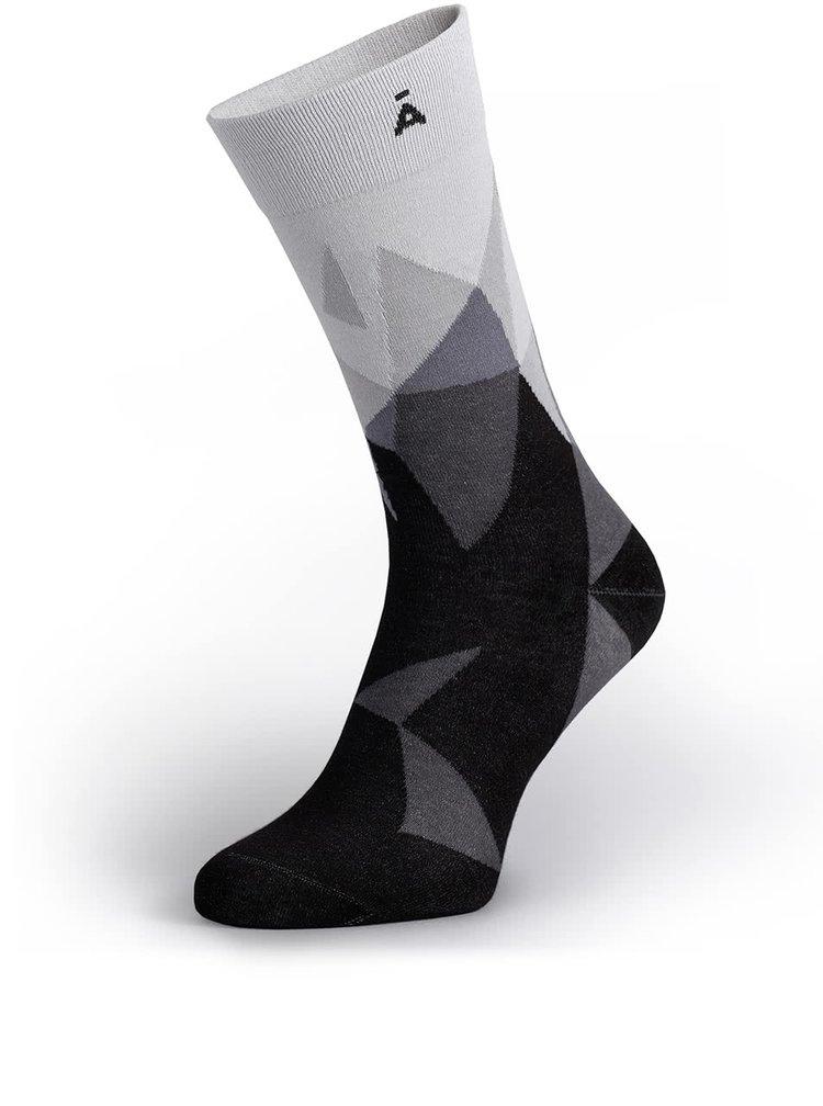 Șosete gri&negru V páru cu model grafic