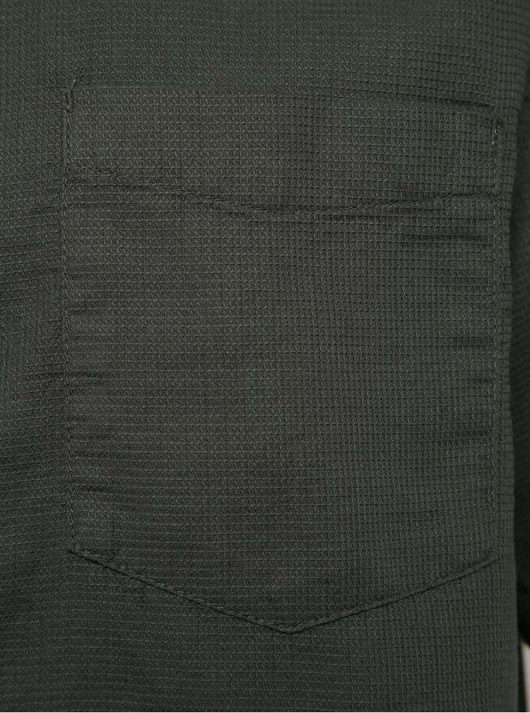 Cămașă kaki Burton Menswear London din bumbac cu model discret și mâneci scurte