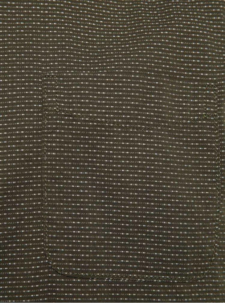 Cămașă verde închis Burton Menswear London regular fit din bumbac cu model discret și mâneci scurte