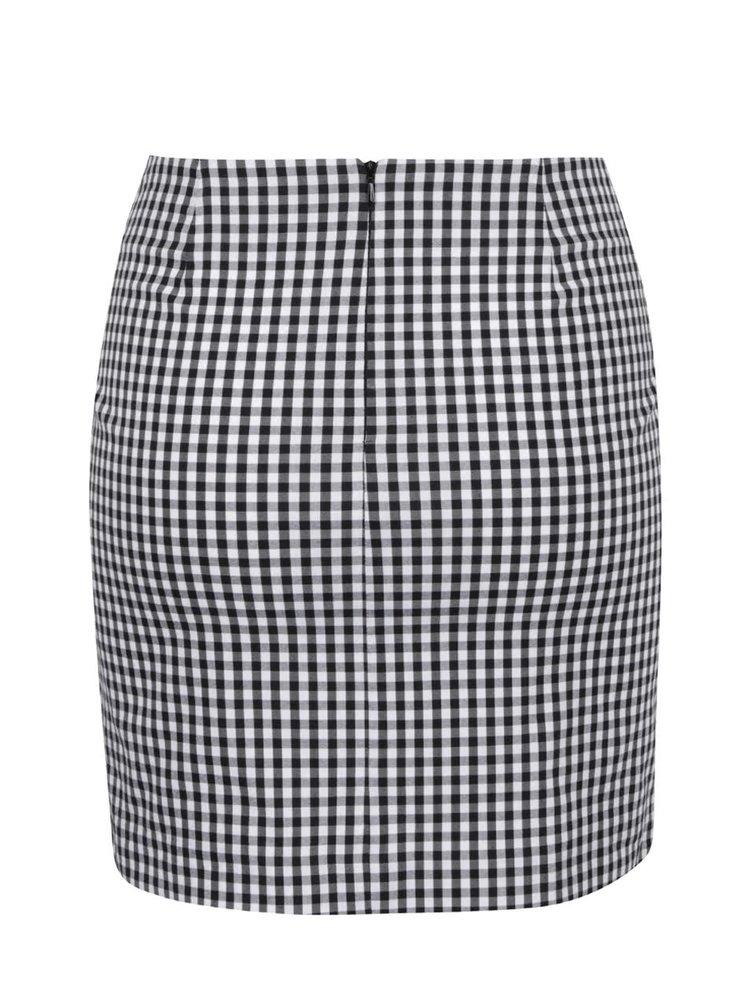 Bílo-černá kostkovaná sukně s vázankou Miss Selfridge