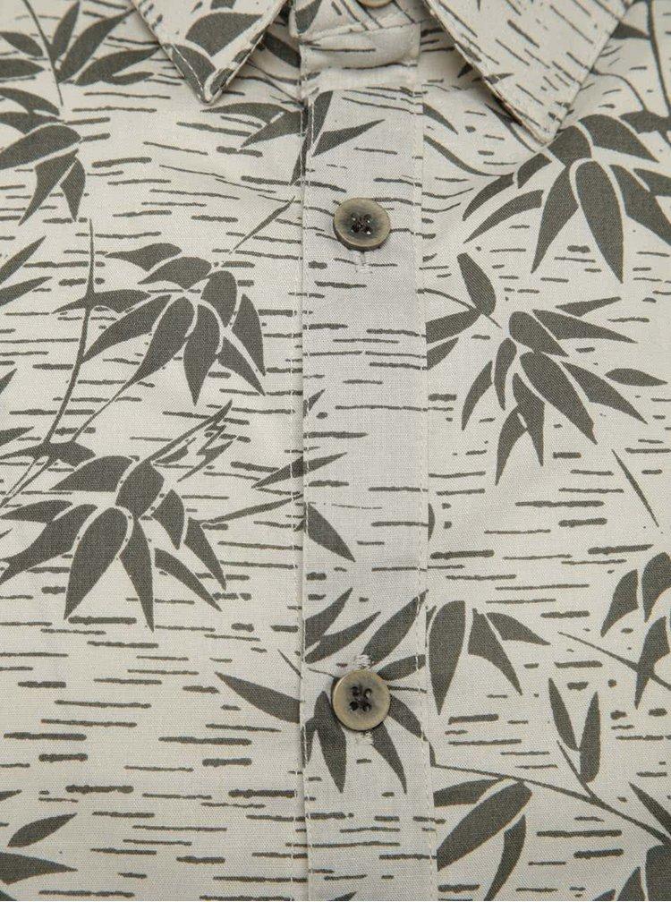 Cămașă bej Burton Menswear London din bumbac cu model și mâneci scurte
