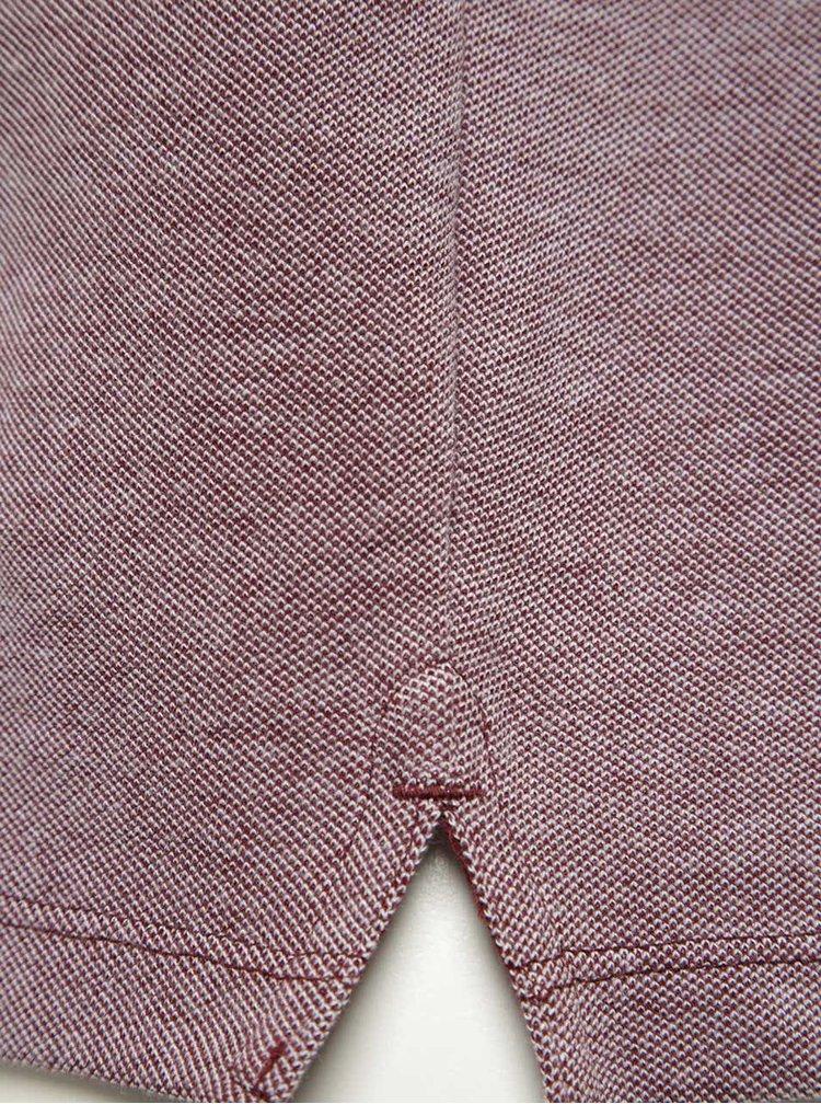 Tricou polo roșu Bordeaux melanj Burton Menswear London din bumbac